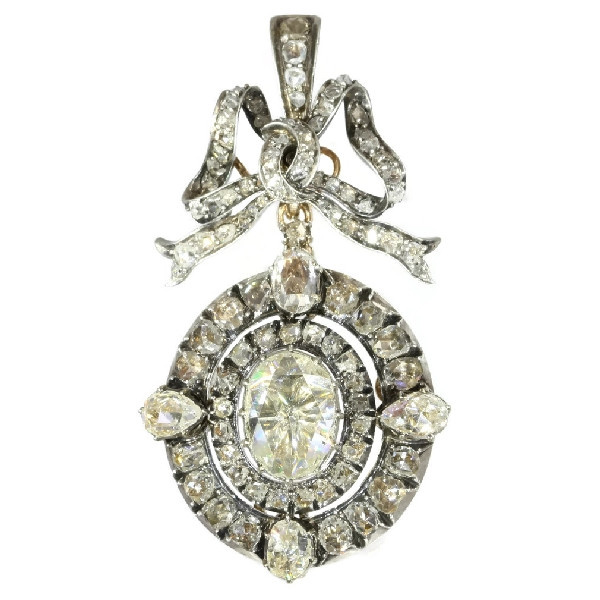Magnificent Victorian brooch pendant with humungous rose cut diamond by Unknown Artist