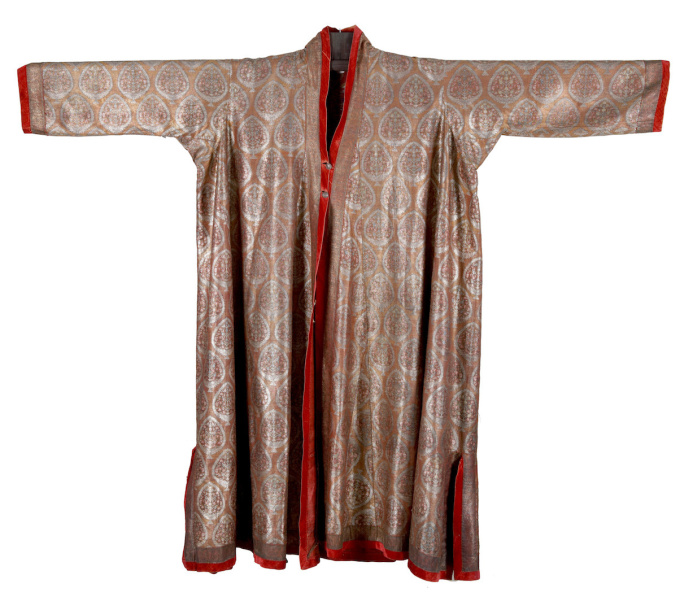 AN INDIAN KASHMIR SILVER-EMBROIDERED WOOL CHOGA, MEN'S CEREMONIAL COAT  by Unknown Artist