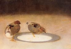 Two chicks on a tin plate