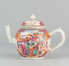 Qianlong Famille Rose teapot with Mandarin decor, (1711-1799)  by Unknown Artist
