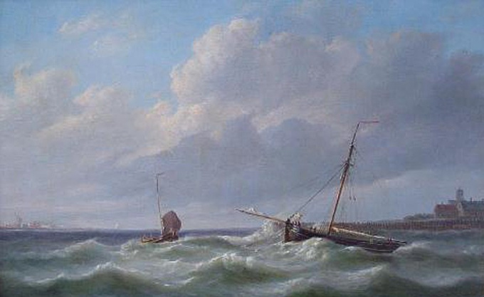 Anchored boat off the coast by Simon van Brakel