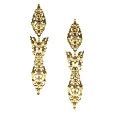 300 yrs old antique long pendent earrings with rose cut diamonds high carat gold by Unknown Artist