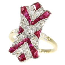 Decorative Art Deco ruby and diamond engagement ring by Unknown Artist