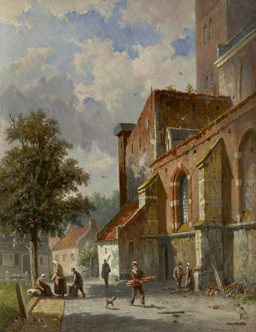 A village street behind a church by Adrianus Eversen