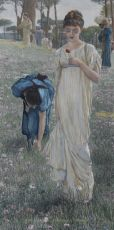 SPRING (GREEN ON THE FIELDS / IN THE GARDENS OF THE VILLA BORGHESE )  by Lawrence Alma-Tadema