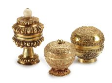 THREE GOLD BETELNUT CHEWING CONTAINERS, PROBABLY FOR LIME (KLOPOK) by Unknown Artist
