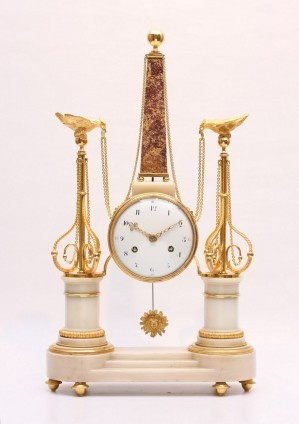 A French Louis XVI portico mantel clock with obelisk, circa 1780 by Unknown Artist