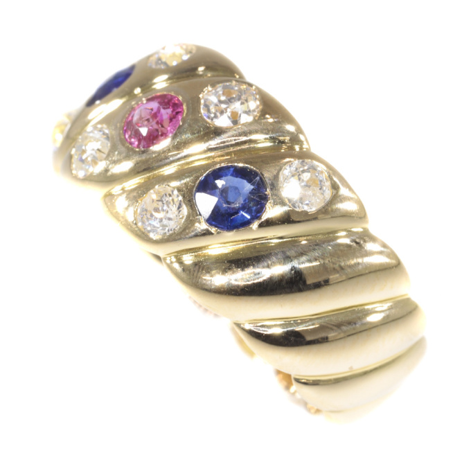 Antique 18K gold Victorian diamond sapphire and ruby ring by Unknown
