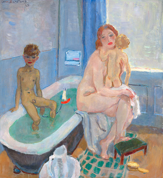 Greet, Rob and Liesje in the Bathroom by Jan Sluijters