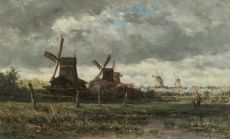A summer landscape with windmills and two anglers