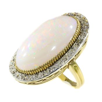 Antique large opal and diamonds ring by Unknown Artist