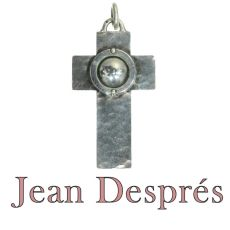 French designer Jean Després signed silver cross by Jean Després