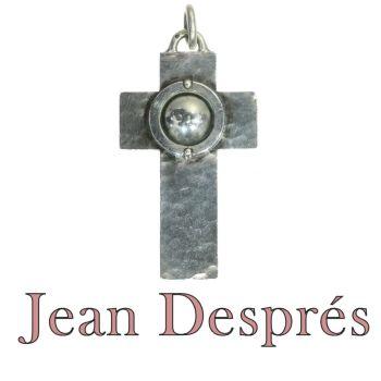 French designer Jean Després signed silver cross by Jean Després