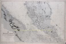 RARE 19TH CENTURY MAP OF THE MALACCA STRAIT WITH SINGAPORE   by Unknown Artist