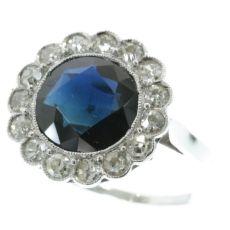 Platinum art deco diamond sapphire engagement ring by Unknown Artist