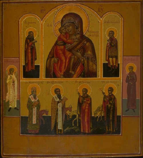 Antique Russian Four Field Icon I by Unknown Artist