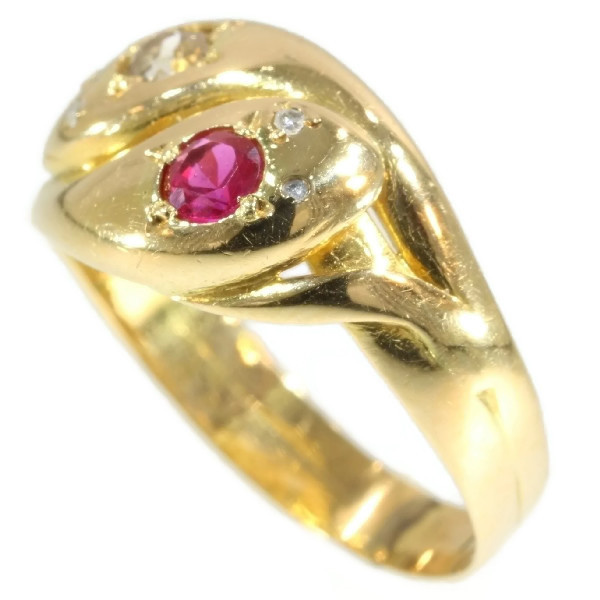Victorian antique ring two intertwined snakes with ruby and diamonds by Unknown Artist