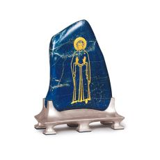 Afghan lapis lazuli inlaid with gold on a silver stand by Elisabeth Treskow