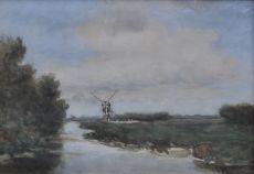 Windmill along a polder canal by Hendrik Johannes (Jan Hendrik) Weissenbruch