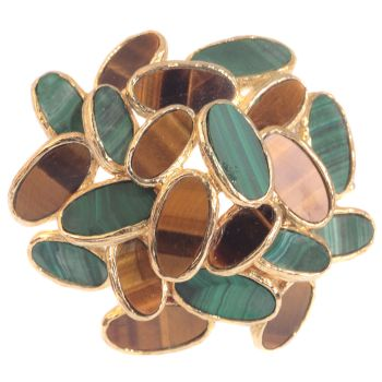 Vintage Sixties pop-art gold brooch set with malachite and tiger eye by Unknown Artist