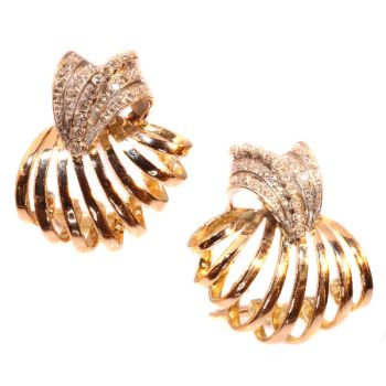 Enchanting Vintage Fifties Diamond Ear Clips Pink Gold And Platinum by Unknown Artist