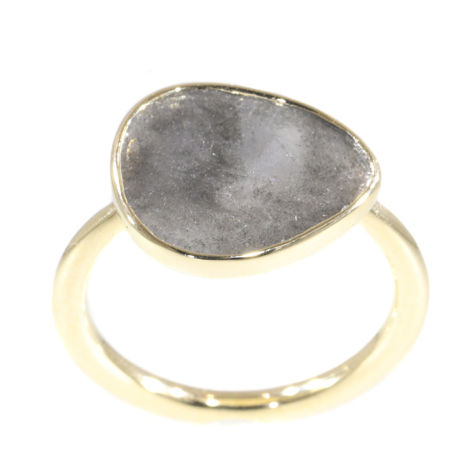 Artist ring with large salt & pepper diamond by Unknown Artist