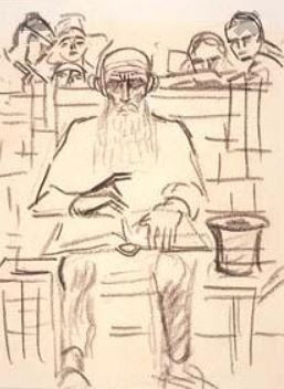 Old man with book by Jan Toorop