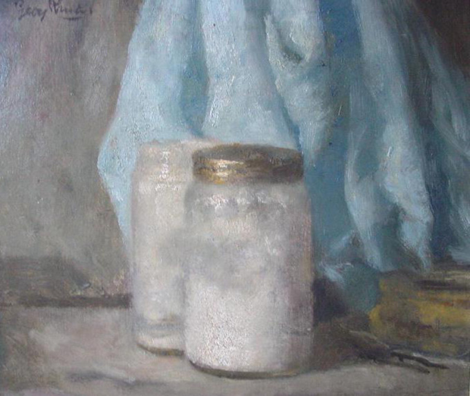 Still life with two jars by Georg Rueter