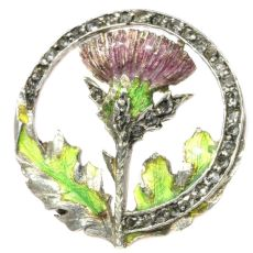 Late Victorian early Art Nouveau enameled thistle brooch with rose cut diamonds by Unknown