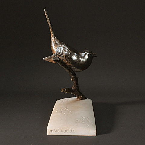 Rare  art deco sculpture of bird in snow by André Vincent Becquerel