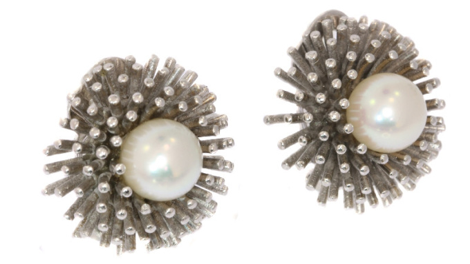 Estate white gold ear clips with pearl model sea urchin by Unknown
