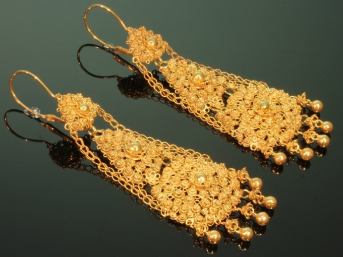 Old antique Dutch chandelier filigree long pendent earrings by Unknown Artist