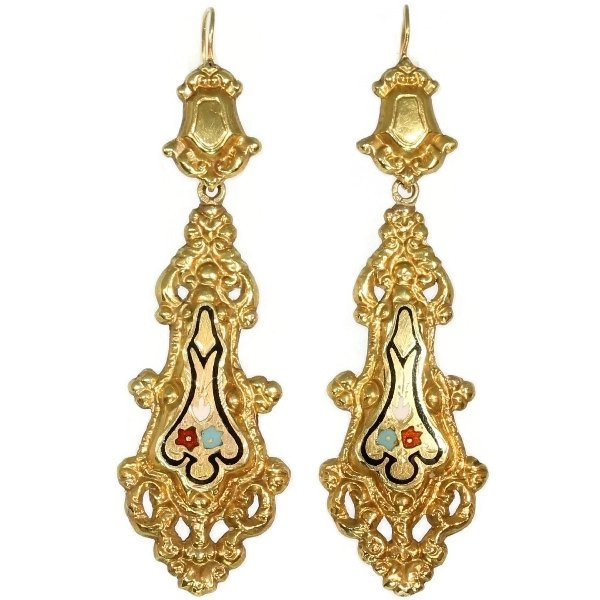 Georgian or Early Victorian long pendant earrings with enamel made in Belgium by Unknown Artist