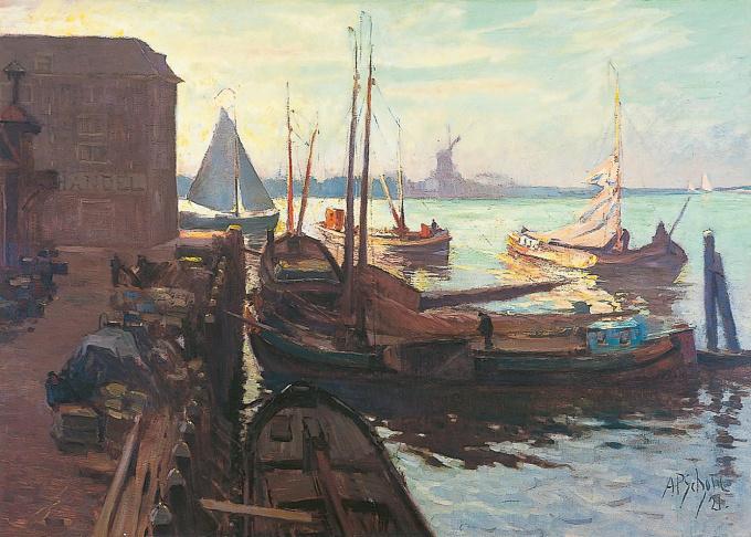 The Bomkade in Dordrecht by Anthonie Pieter Schotel