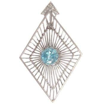 Artist Jewelry by Chris Steenbergen white gold pendant with diamond and starlite by Unknown Artist