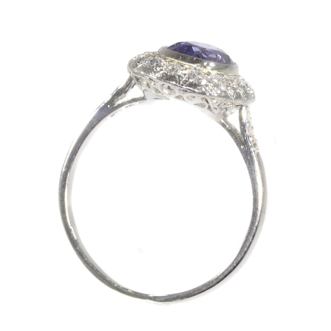 French Vintage Fifties Art Deco platinum diamond sapphire engagement ring by Unknown Artist
