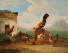 A rooster and chickens near a basket by Albertus Verhoesen