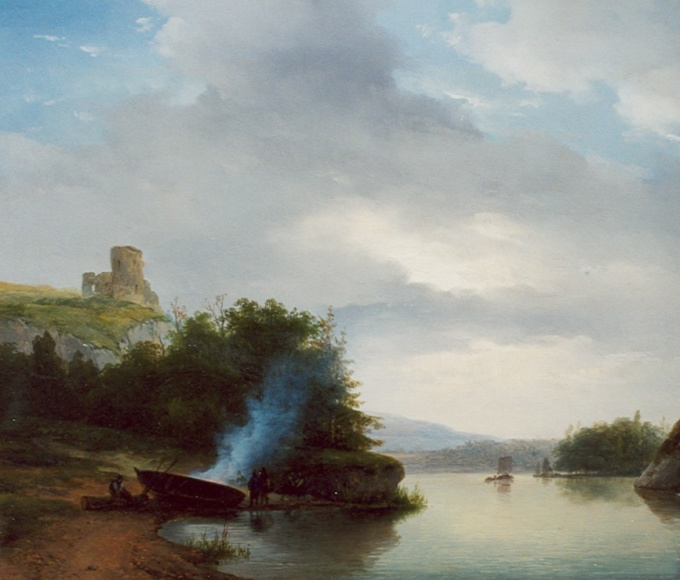 A hilly river landscape with a ruin by Andreas Schelfhout