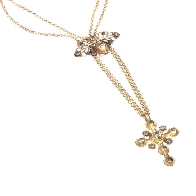 18th Century gold and diamond cross on necklace with table rose cut diamonds by Unknown Artist