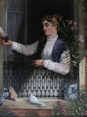 Lady with pigeons by Charles Louis Verwee