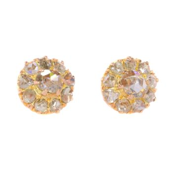 Victorian rose cut diamond earstuds by Unknown Artist