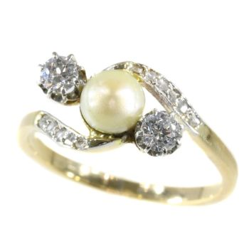 Vintage Belle Epoque diamond and pearl ring by Unknown Artist