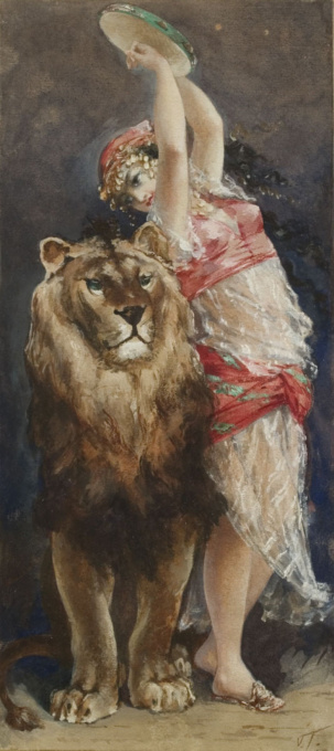 Delilah and the lion by Hendrik Albert van Trigt
