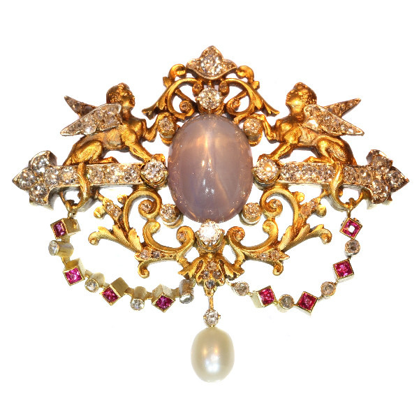 19th Century French brooch two sphinxes diamond set and star sapphire (Freemasonry?) by Unknown Artist
