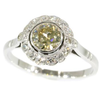 Fifties diamond engagement ring - white gold - champagne colored brilliant by Unknown Artist