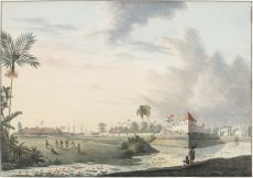 "Watercolour, ink on paper ""Stad Vlaardingen, Macassar, September 1816"" by QUIRIJN MAURITS RUDOLPH VERHUELL"