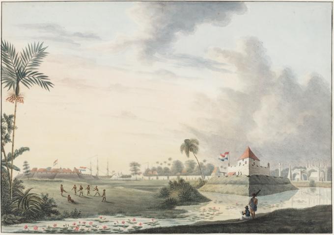 "Watercolour, ink on paper ""Stad Vlaardingen, Macassar, September 1816"" by QUIRIJN MAURITS RUDOLPH VERHUELL"