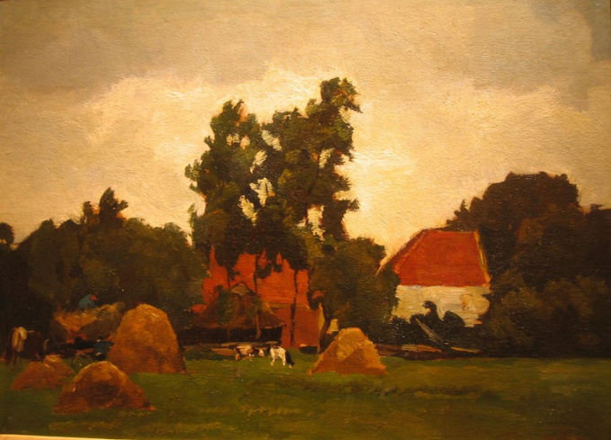 Farmhouse with Figures and Cattle by Willem de Zwart