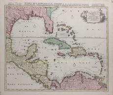 Historical map of the carribean, mexico, colombia and america  by Ottens, Reinier and Joshua