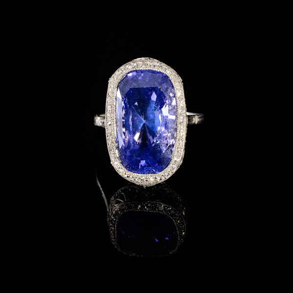 Edwardian ring with colour change sapphire by Unknown Artist